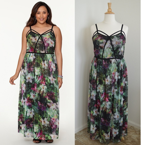 ac7740fac0a Lane Bryant Dresses   Skirts - Lane Bryant Strappy Floral Chiffon Maxi Dress
